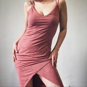 SUEDE SALMON BODY-CON DRESS W/ HIGH SLIT